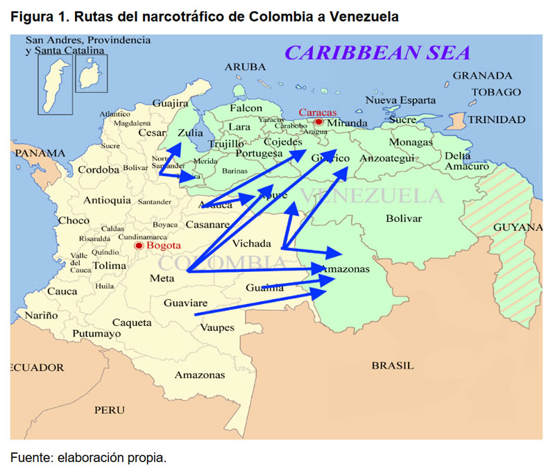Figura 1. Rutas del narcotráfico de Colombia a Venezuela