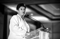 Thelma Aldana, quien dirigió el Ministerio Público de Guatemala de 2014 a 2018, presentó su candidatura a la presidencia el 10 de marzo de 2019 en Ciudad de Guatemala. Credit Oliver de Ros/Associated Press