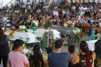 A funeral for victims of gang violence in Chalchuapa, El Salvador, in February. Credit Agence France-Presse — Getty Images