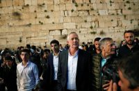 Benny Gantz, center, visiting the Western Wall in Jerusalem's Old City in March. Credit Ronen Zvulun/Reuters