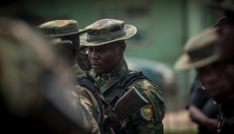 Nigerian soldiers on patrol in February. Photo: Getty Images.
