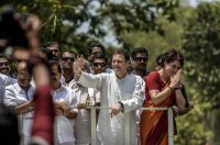 Rahul Gandhi and his sister, Priyanka Gandhi Vadra, acknowledging supporters in Wayanad, India., on April 4. Credit Atul Loke/Getty Images