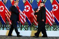 President Trump greeting North Korea's leader, Kim Jong-un, at their Hanoi meeting in February.CreditCreditDoug Mills/The New York Times