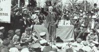 Pablo Iglesias, durante un mitin en apoyo de los presos de la Semana Trágica de Barcelona en 1909. UGT
