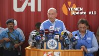Michael Anker Lollesgaard, Head of the United Nations Mission in support of the Hodeida Agreement (UNMHA), speaks during a press conference to welcome the handover of the port of Hodeida on 14 May 2019, in the Yemeni port city. AFP