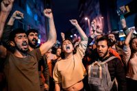 Supporters of Istanbul's mayor, Ekrem Imamoglu, shout anti-government slogans while protesting against the rerun of the Istanbul mayoral election on Monday.CreditCreditYasin Akgul/Agence France-Presse — Getty Images