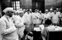 Indira Gandhi surrounded by Congressmen, Parliament House, in New Delhi in 1967.CreditCreditRaghu Rai/Magnum Photos