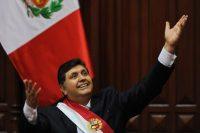 Alan García (1949-2019), quien fue presidente por dos periodos en el Perú, durante un discurso en julio de 2009 en Lima Credit Ernesto Benavides/Agence France-Presse — Getty Images
