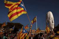 Catalan pro-independence demonstrators rally in Madrid on March 16. (Emilio Morenatti/AP)