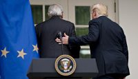 US President Donald Trump and President of the European Commission Jean-Claude Juncker walk away after the conclusion of a joint statement in the Rose Garden of the White House in Washington, DC on 25 July 2018. Photo credit: Getty Images