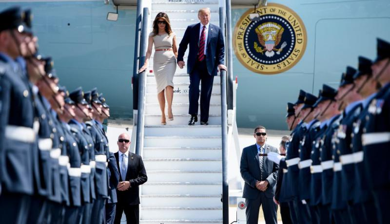 Donald and Melania Trump disembark Air Force One at Stansted Airport during their visit to the UK in 2018. Photo: Getty Images.
