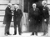 From left: British Prime Minister Lloyd George, Italian Council President Vittorio Orlando, French Council President Georges Clemenceau and President Woodrow Wilson attending the opening day of the Conference for Peace in Paris. (-/AFP/Getty Images)