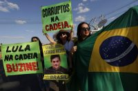 Anti-corruption demonstrators in Brasilia in 2017. (Eraldo Peres/AP)