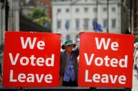 A pro-Brexit demonstrator outside the Houses of Parliament in London.CreditCreditHenry Nicholls/Reuters