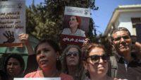 Concentración en los juzgados en Rabat el pasado 9 de septiembre de protesta por la detención de la periodista Hajar Raissouni. Mosa'ab Elshamy (AP)