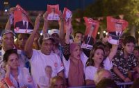 Supporters of Tunisia's jailed presidential candidate, Nabil Karoui, attend a campaign event in Tunis on Friday. (Fethi Belaid AFP/Getty Images)