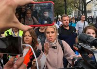 Lyubov Sobol protesting in Moscow in August.CreditCreditPolina Ivanova/Reuters