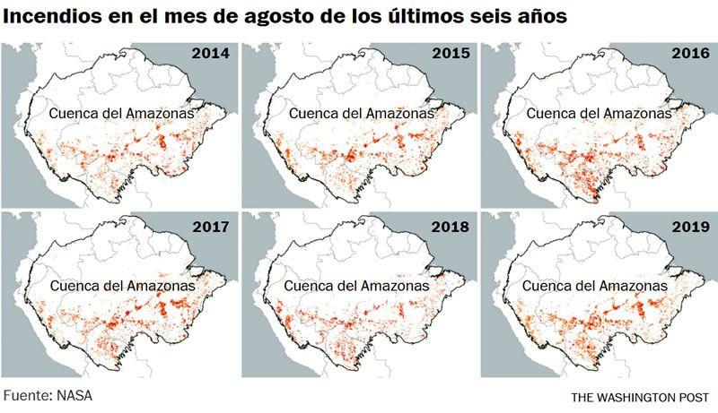 Incendios en el mes de agosto de los últimos seis años