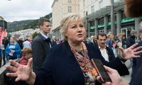 'Norway's Conservative party prime minister Erna Solberg has cultivated a calculated ambiguity when confronted with the anti-Muslim rhetoric of her Progress party allies.' Photograph: Marit Hommedal/EPA