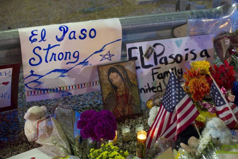 A makeshift memorial for the victims of the mass shooting at a Walmart in El Paso, an incident federal authorities are classifying as domestic terrorism. (Andres Leighton/AP)