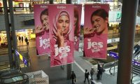 A recent German advertising campaign features a woman in a hijab. Photograph: Sean Gallup/Getty Images