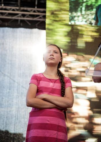 Greta Thunberg at the climate protest in New York on Friday. Credit Damon Winter/The New York Times