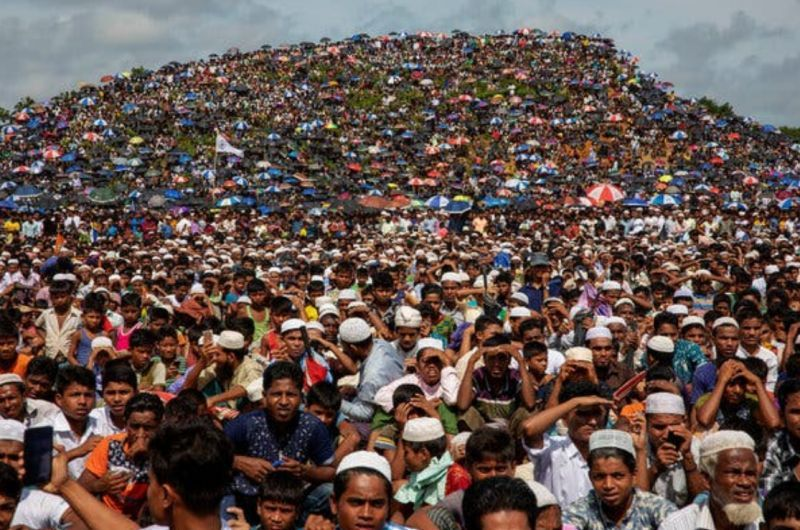 Rohingya refugees gathered in Bangladesh on Aug. 28 on the second anniversary of the 2017 refugee crisis. Credit K.M. Asad/LightRocket, via Getty Images