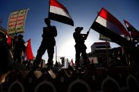 Yemeni supporters of the Houthi movement take part in a rally in Sanaa on Sept. 21. Mohammed Huwais/AFP/Getty Images