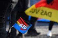 A flag is pictured in Erfurt during an Oct. 26 campaign event of Germany's AfD. (Christof Stache/Afp Via Getty Images)