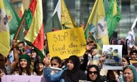 Kurds protest at the United Nations building in Beirut, Lebanon, on 11 October 2019 against Turkey's attacks on Syria. Photograph: Wael Hamzeh/EPA