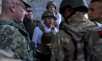 Ukraine's president Volodymyr Zelenskiy visiting armed forces in the Donetsk region, October 2019. Photograph: Ukrainian Presidential Press Ser/Reuters