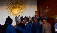 Delegates leave the plenary hall of the Africa Union headquarters in Addis Ababa in January 2018. Photo: Getty Images.