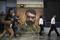 La estación de Metro Zapata, en Ciudad de México, en la conmemoración de los 100 años de su asesinato, en abril de 2019. (Eduardo Verdugo)