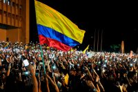 Miles de colombianos salieron a marchar el 23 de noviembre de 2019.Credit...Luis Robayo/Agence France-Presse — Getty Images