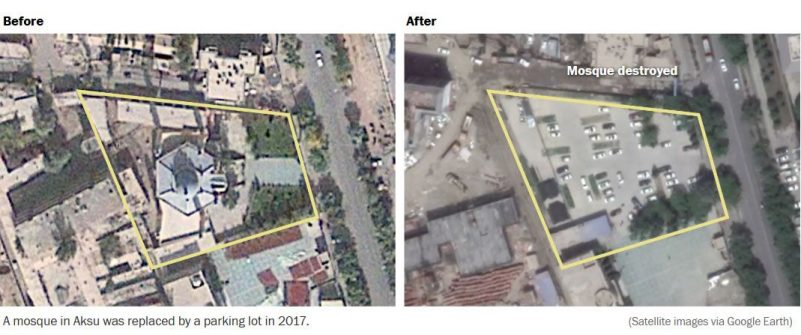 A mosque in Aksu was replaced by a parking lot in 2017