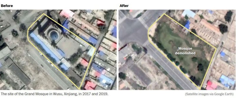 The site of the Grand Mosque in Wusu, Xinjiang, in 2017 and 2019