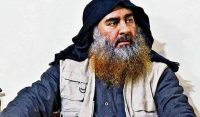 This image released by the Department of Defense on Wednesday, Oct. 30, 2019, and displayed at a Pentagon briefing, shows an image of Islamic State leader Abu Bakr al-Baghdadi. (Department of Defense via AP
