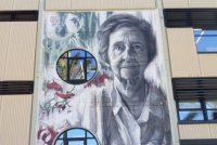 Un mural sobre Margarita Salas realizado en la UPV.