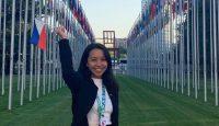 Zcyrel Barola en Naciones Unidas (Ginebra), donde el pasado mes de septiembre presentó la versión para niños de la Convención sobre los Derechos del Niño (Educo)