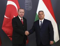 Two autocrats: Turkish President Recep Tayyip Erdoğan, left, and Hungarian leader Viktor Orban, right, in Budapest, Hungary, Nov. 7, 2019. AP/Presidential Press Service