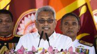 Sri Lanka's new president Gotabaya Rajapaksa speaks after taking oath of office during his swearing-in ceremony at the Ruwanwelisaya temple in Anuradhapura on November 18, 2019. AFP/Lakruwan Wanniarachchi