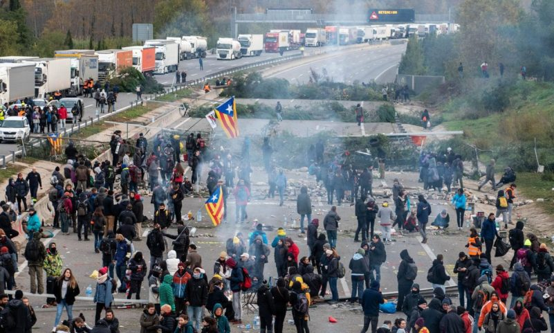 'Heightened separatist sentiment has been used by politicians on both sides to further their own agendas.' Protesters supporting Catalan independence in Girona this month. Photograph: Adria Salido Zarco/Sipa/Rex/Shutterstock