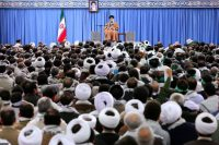 Ayatollah Ali Khamenei, supreme leader of Iran, addressing members of a militia loyal to the Islamic republic about demonstrations against the government last month.Credit...Office of the Iranian Supreme Leader, via Agence France-Presse — Getty Images