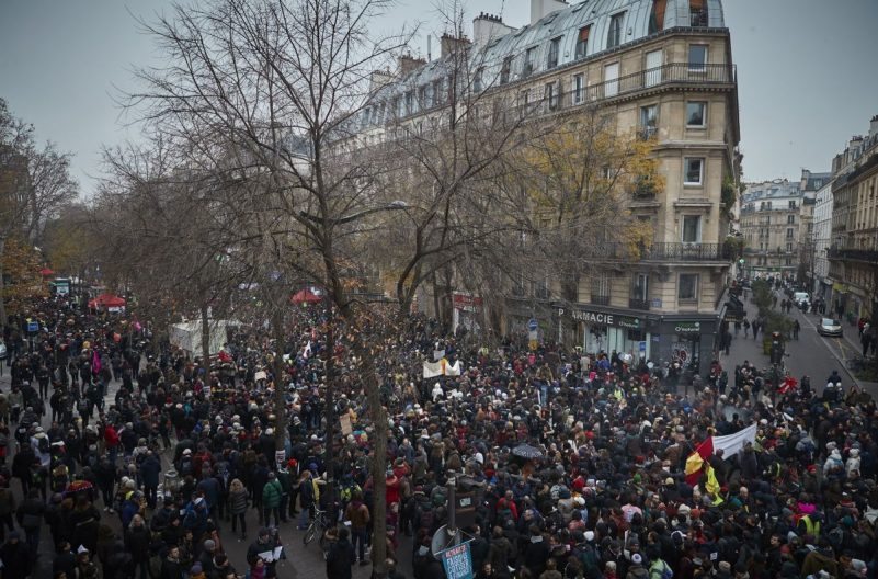 A rally near the Place de République in Paris on Thursday, in support of the national strike in France. Credit Kiran Ridley/Getty Images