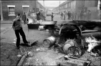 Ian Berry/Magnum Photos Wreckage forming a barricade after a riot, Belfast, Northern Ireland, 1981