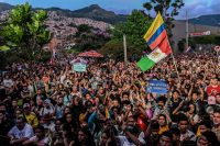 Demonstrators attend a concert in Medellin in support of the strike against Colombian President Iván Duque's government on Saturday. (Joaquin Sarmiento/AFP/Getty Images)