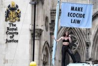 Singer Jessica Winter campaigns for ecocide to be recognized as a crime, last July in London.