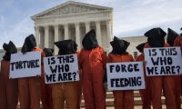 A protest against Guantanamo Bay detentions at the US supreme court in 2017. Photograph: UPI / Barcroft Images
