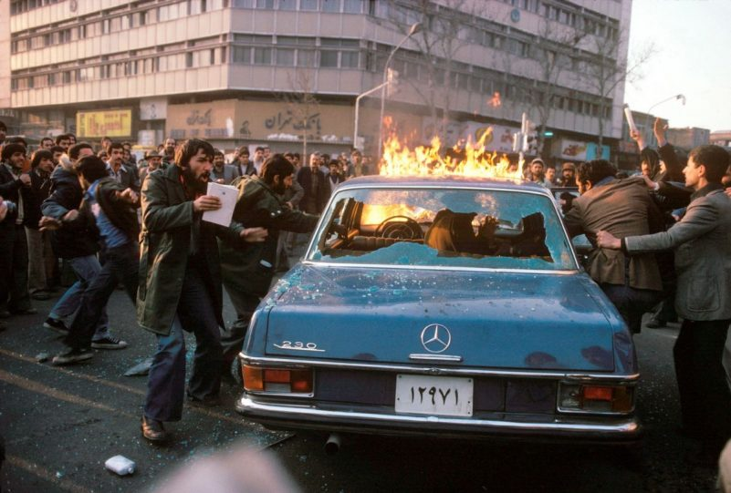 Iranians in line for gasoline in January 1979.