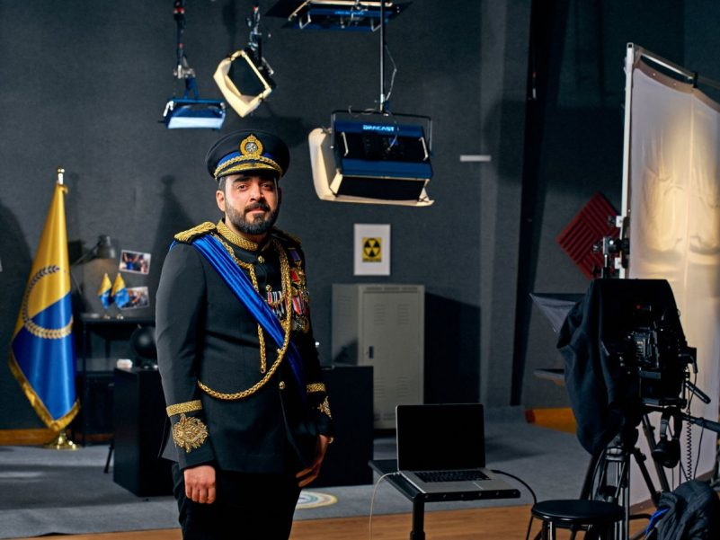 """Ahmed Albasheer in costume on the set of the """"Albasheer Show."""" Credit Chad Batka for The New York Times"""
